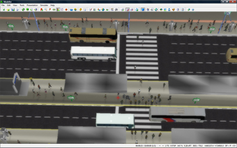 Paramics Presentation graphics featuring shadows, 3D models, road styles, textures and overlays.